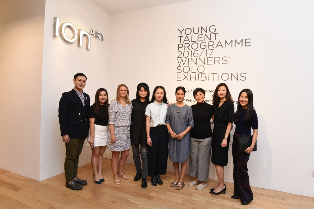 Artist Leow Wei Li, Tay Ining and Le Thuy, alongside representatives from The Affordable Art Fair and ION Art